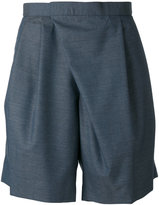 Kolor asymmetric tailored shorts - men - Cupro/Wool - 4