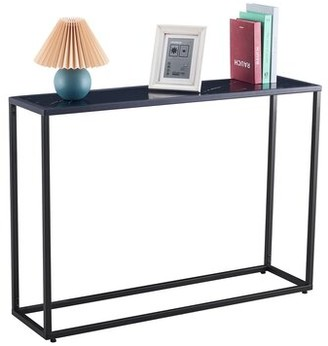 "Everly Quinn Beagan 41.73"" Console Table Table Top Color: Black, Table Base Color: Black"