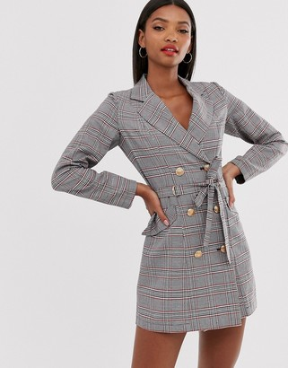 AX Paris check d ring blazer dress