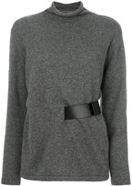 Tom Ford belted knitted top - women - Calf Leather/Lamb Skin - XS