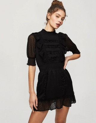 Miss Selfridge lace insert mini dress in black