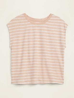 Old Navy Linen-Blend Jersey Cap-Sleeve Tee for Women
