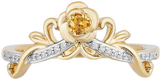 ENCHANTED FINE JEWELRY BY DISNEY Enchanted Disney Fine Jewelry Womens Diamond Accent Genuine Yellow Citrine 10K Gold Crown Beauty and the Beast Cocktail Ring
