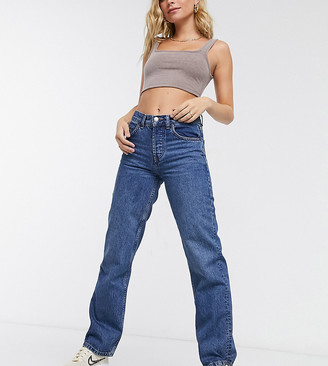 ASOS DESIGN Petite organic mid rise '90's' straight leg jeans in rich 70's blue