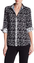 Foxcroft 3/4 Length Sleeve Shaped Floral Print Shirt