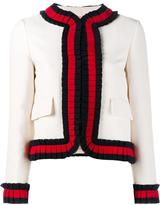 Gucci cropped Web trim jacket - women - Silk/Cotton/Acetate/Wool - 42