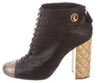 Chanel Metallic Cap-Toe Ankle Boots
