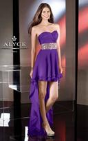 Alyce Paris - Tuck-Sculpted Sweetheart High-Low Long Evening Gown with Rhinestone Encrusted Wasitband 35502