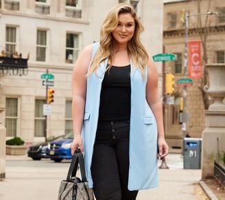 All Worthy Hunter McGrady Button Front Sleeveless Blazer Dress