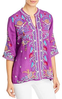 Johnny Was Arzella Embroidered Easy V-Neck Peasant Top