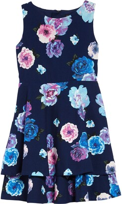 Trixxi Floral Print Crepe Dress