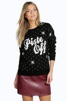 Boohoo Phoebe Piste Off Christmas Jumper