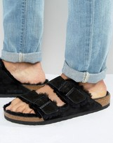 Birkenstock Birkenstocks Arizona Suede Shearling Slippers