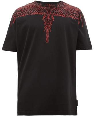 Marcelo Burlon County of Milan Wings Print Cotton Jersey T Shirt - Mens - Black Red