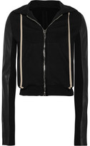 Rick Owens Leather-paneled Cotton-jersey Hooded Top - Black