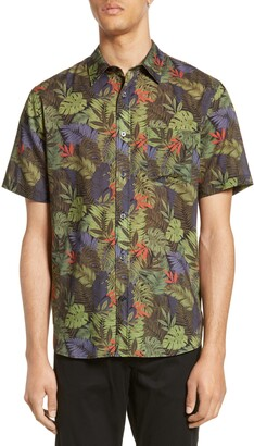 Vince California Print Slim Fit Short Sleeve Shirt