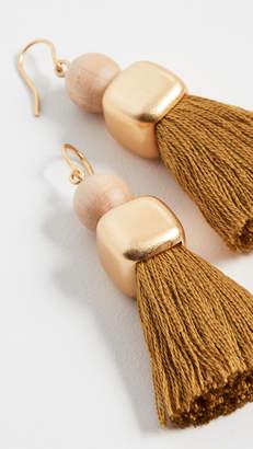 Madewell Wood Bead And Tassel Earrings