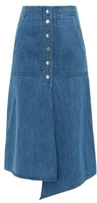 Tibi Asymmetric-hem Buttoned Denim Skirt - Womens - Denim