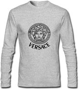 Versace Logo For Men's Printed Long Sleeve Cotton Tshirt Large Gray