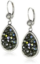 "Liz Palacios Orient Express"" Teardrop Silver Shade Crystal Earrings"