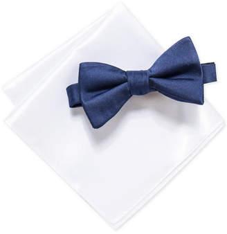 Alfani Men Pre-Tied Satin Solid Bow Tie & Satin Solid Pocket Square