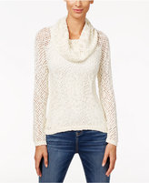INC International Concepts Petite Metallic Cowl-Neck Open-Knit Sweater, Only at Macy's