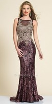 Dave and Johnny Rhinestone Applique Sequin Evening Dress