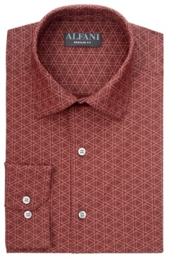 Alfani Men's Classic/Regular-Fit Wrinkle-Resistant Geo-Print Dress Shirt, Created for Macy's
