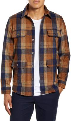 NN07 Eddard 8218 Slim Fit Plaid Button-Up Wool Blend Flannel Overshirt