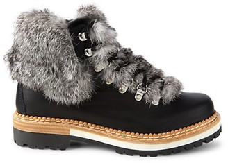 Montelliana 1965 Clara Rabbit Fur-Trim & Shearling-Lined Leather Hiking Boots