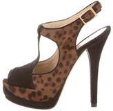 Fendi Ponyhair T-Strap Sandals