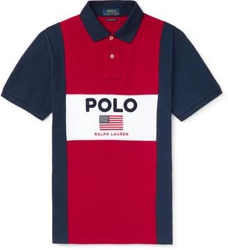 Polo Ralph Lauren Logo-Embroidered Colour-Block Cotton-Pique Polo Shirt