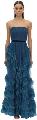 Marchesa Long Draped & Ruffled Tulle Dress W/lace