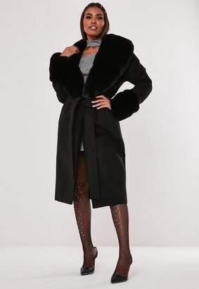 Missguided Hayden Williams X Black Faux Fur Collar Cuff Coat