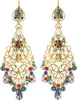 Jose & Maria Barrera Filigree Beaded Chandelier Earrings