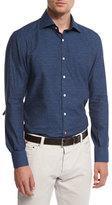 Isaia Printed Denim-Effect Herringbone Sport Shirt, Blue