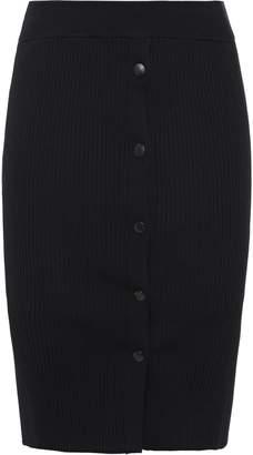 Alexander Wang Snap-detailed Ribbed-knit Mini Skirt
