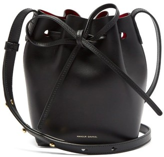 Mansur Gavriel Red-lined Mini Mini Leather Bucket Bag - Black Multi