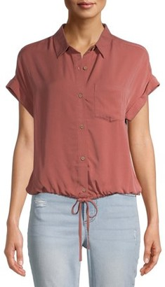 No Boundaries Juniors' Button Front Cinched Waist Blouse