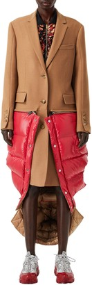 Burberry 2-in-1 Camel Hair Coat with Reversible Puffer Vest