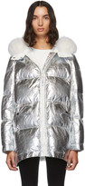Yves Salomon Army Army Silver Down and Fur Reflective Doudoune Jacket