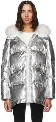 Yves Salomon Army Silver Down and Fur Reflective Doudoune Jacket