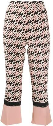 Elisabetta Franchi cropped logo print trousers