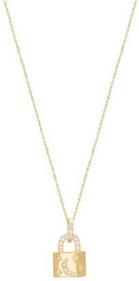 GABIRIELLE JEWELRY Cubic Zirconia Crescent Lock Pendant Necklace