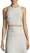 Theory Nikayla Narrow Striped Linen Top, White