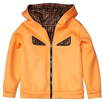 Fendi Kids Reversible Logo Hooded Jacket with Eyes (Big Kids) (Orange) Boy's Clothing