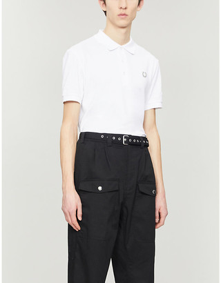 Fred Perry Photograph-print slim-fit cotton-pique polo shirt