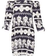 Dorothy Perkins Womens *Blue Vanilla Navy Printed Bardot Tunic- Navy