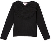 Pink Angel Black Fringe-Yoke Sweater - Infant Toddler & Girls