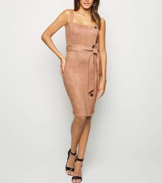 New Look AX Paris Suedette Button Side Dress